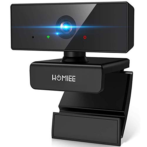 HOMIEE 1080P Full HD Webcam with Dual Microphone 110 Degree Wide Angle USB Computer Webcam Plug and Play Desktop Camera Webcam for Video Calling Conferencing,Laptop,Gaming,PC,Mac