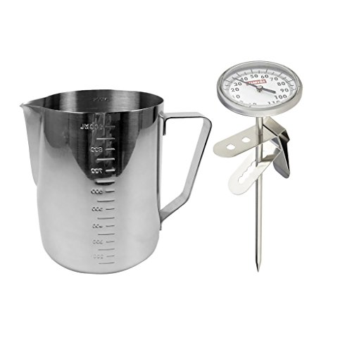 900ml Stainless Steel Coffee Frothing Milk Tea Latte Jug Scale + Thermometer