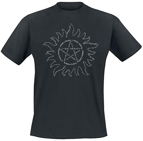 CID Supernatural Text Symbol T-Shirt, Nero, XL Uomo