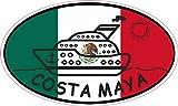 StickerTalk Cruise Ship Oval Costa Maya Vinyl Flag Sticker, 5 inches by 3 inches