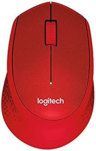 Logitech M331 Silent Plus Wireless Mouse 2 4Ghz With USB Nano Receiver 1000 DPI Optical Tracking 3 Buttons 24 Month Life Battery PC Mac Laptop Red