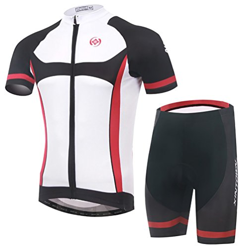 Baymate Homme Vélo Maillot Cyclisme Set á Manches Courtes et Pantalons Courts