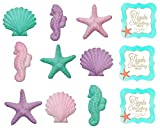 12pack Pink, Purple, Teal Seahorses, Starfish & Shells Shimmer Edible Sugar Cake & Cupcake Decorations 12 Count with 12 SeaShell STickers