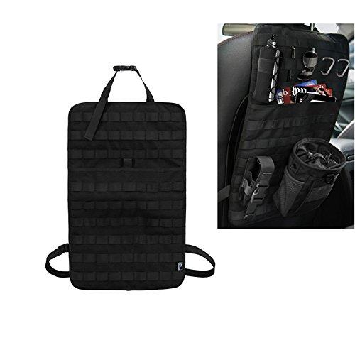 Taktisk MOLLE fordon framsäte förvaring med flaska/ficklampa/återvinningspåse bilstolsrygg organiseringssäte skydd universell passform flerfärgad (svart/brun)