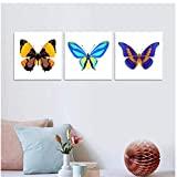 WXHYW Canvas Wall Art Canvas Decoration Butterfly Wall Painting Picture for Livingroom Studio Kids Room Realist Animals Canvas Painting Home Unframed 3 Piece Set 50 * 90Cm