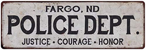 Fargo, ND Police DEPT. Sign Rustic Wall Decor Signs Department Officer First Responder Vintage Law Enforcement Tin Art Plaque Retro Gift 8 x 24 Matte Finish Metal 108240012221