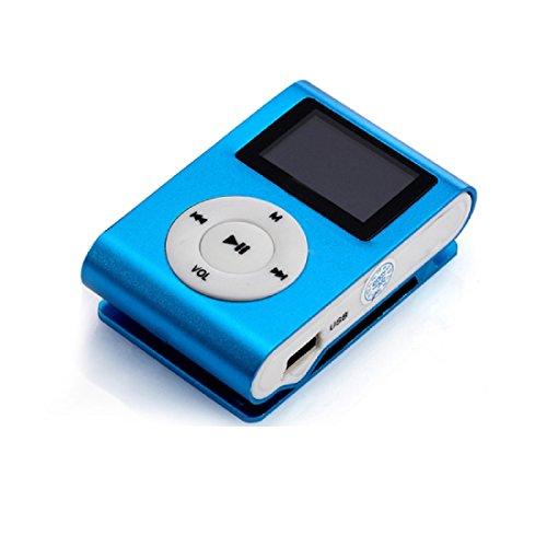 Amison USB Mini Clip MP3-Player LCD-Bildschirm Unterstützung 32GB Mikro-Sd TF Karten (Blau)