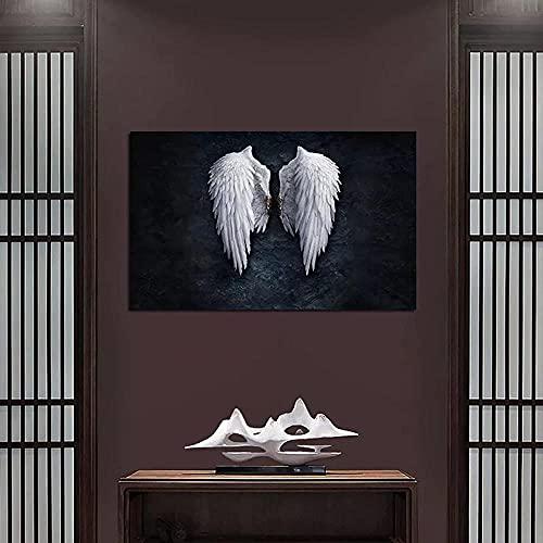 pôster Asas de anjo branco Pôster e impressões Arte moderna em parede Pinturas em tela Decoração de casa Fotos para viver 40X60cm (16x24 polegadas) Sem moldura
