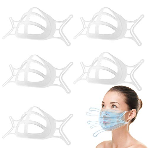 Upgrade Face Bracket Turtle Inner Mask Bracket Support Frame, Cool Plastic Protection Stand Cloth Mask for Women & Men As Seen on TV (White 5PCS)