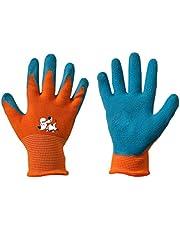 Werkhandschoenen voor kinderen, latex, beschermende handschoenen, tuinhandschoenen, handschoenen, kinderhandschoenen, oranje, maat 2-6.