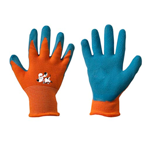 Kinderen werkhandschoenen latex beschermende handschoenen tuinhandschoenen handschoenen kinderhandschoenen oranje maat 2-6 3.