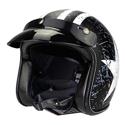 IAMZHL Vintage Motorrad Helm für Männer Frauen Classic Retro Open Facefür...