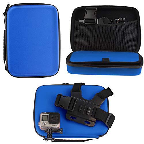 Navitech - Blu Custodia per videocamere d'azione Compatibile con TnB Adrenalin Cam | ERTONBUX WiFi Action Cam | TOPELEK 4K Ultra