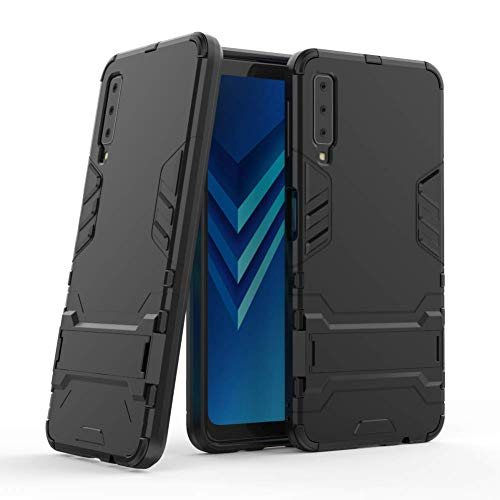 Galaxy A7 2018 Armor Case DWaybox 2 in 1 Hybrid Heavy Duty Armor Hard Back Case Cover with Kickstand for Samsung Galaxy A7 2018 SM-A750 6.0 Inch (All Black)