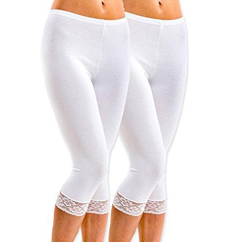 HERMKO 5722 2er Pack Damen 3/4-Leggings mit Spitze, Farbe:weiß, Größe:36/38 (S)