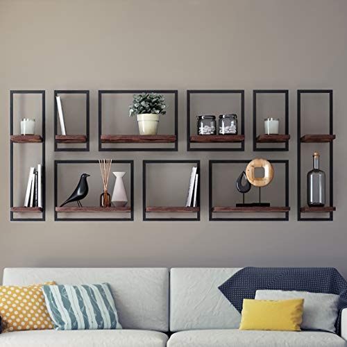 Levitate Floating Shelves - Easy Hanging Wall Shelf - for Bedroom, Bathroom - Burnt Rustic - Wide