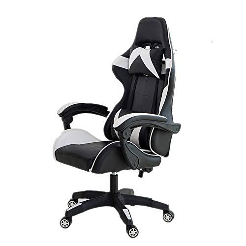 NgMik Gaming Chair Spiel Stuhl Bürostuhl Gemütlich Sedentary Reclining Startseite Drehstuhl zurück Computer Stuhl Ergonomischer Stuhl Ergonomischer Bürostuhl (Color : White, Size