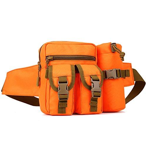 Fancybox Protector Plus tactique Banane Pochette avec support pour poche pour bouteille d'eau étanche Molle Fanny Sac de ceinture abdominale, Orange