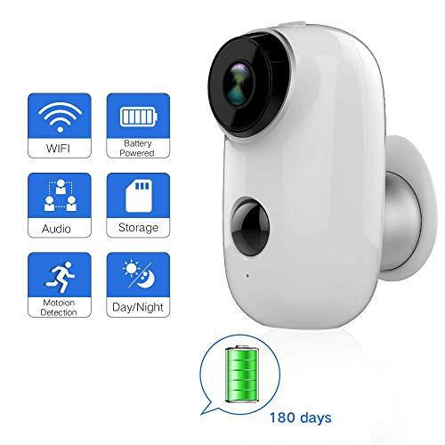 jwcn Outdoor-Überwachungskamera, 720P WiFi IP-HD-CCTV-Home Kamera,Batteriebetriebenes Überwachungssystem, Zwei Wege Audio,Bewegungserkennung,Nachtsicht Fernalarm und Heimtier-Kamera