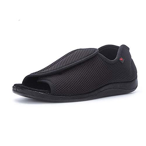 SZFGYJ Zapatillas Diabéticas Para Mujer, Zapatos De Edema De Punta Abierta Unisex, Zapatos De Caminar Hinchados Ajustables, Antideslizantes, Sandalias Ortopédicas Adicionales, Ancianos,Negro,41