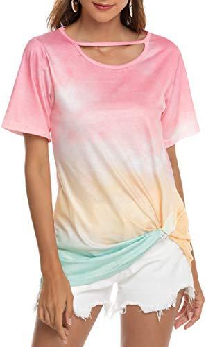 OLIPHEE Casual Camiseta Deportiva Gradiente Manga Corta Tie-Dye Imprimir Corto Tops Blusa Anudadas Camisas Pullover para Mujer babifenXL-1