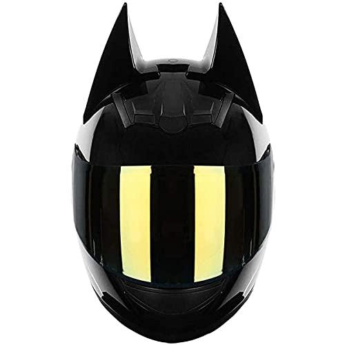 qwert Casco de cara completa, con diseño de orejas de gato, para niña, con visera solar, ajustable, transpirable, para jóvenes, adultos, hombres, certificado DOT (54-62 cm)