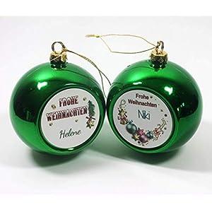 Weihnachtskugel mit Name im Wunschmotiv | Weihnachtsbaumkugel grün