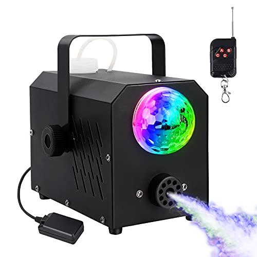 Máquina de niebla mini con luz LED multicolor, luz de discoteca, 400 W, luces de color RGB, con cable e inalámbrica, para fiestas de Halloween y escenarios