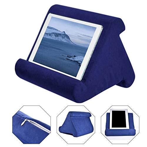 AITOCO - Cojín para tablet portátil, soporte para leer en la cama, soporte universal para móvil y iPad, soporte para rodillas, escritorio, sofá, lector electrónico azul zafiro