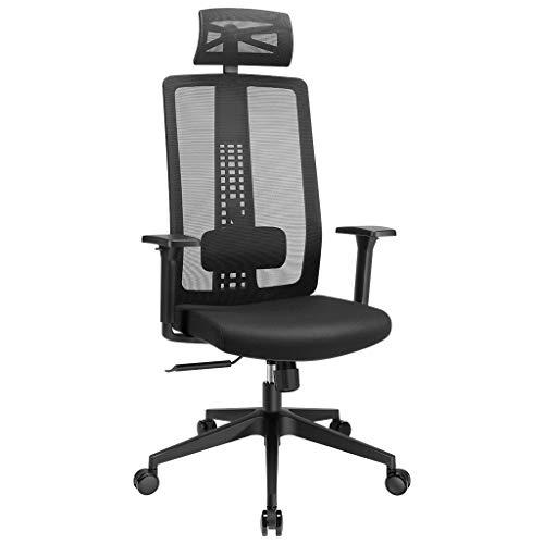 LANGRIA sedia da ufficio con schienale alto, sedia per computer a rete con due ruote extra, sedia direzionale con supporto lombare regolabile, funzione di inclinazione e blocco a 3 posizioni, nero