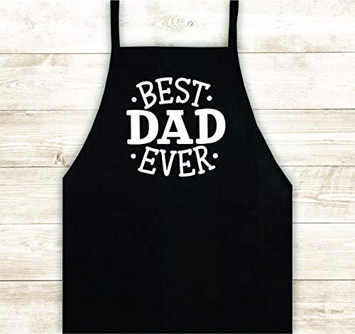 H421ld Best Dad Ever delantal de diseño personalizado de la prensa de calor de vinilo para barbacoa, barbacoa, cocinero, regalo divertido para los hombres de cocina padre papá Pops