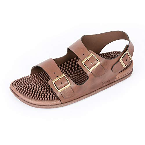 Revs Premium Acupressure & Reflexology Massage Trek Sandals for Men & Women. Shock Absorbing, Comfortable Cushion Footbed & Arch Support. Brown