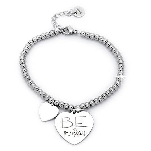 Beloved Braccialetto da donna, bracciale in acciaio emozionale - frasi, pensieri, parole con charms - ciondolo pendente - misura regolabile - incisione - argento (MOD 7)