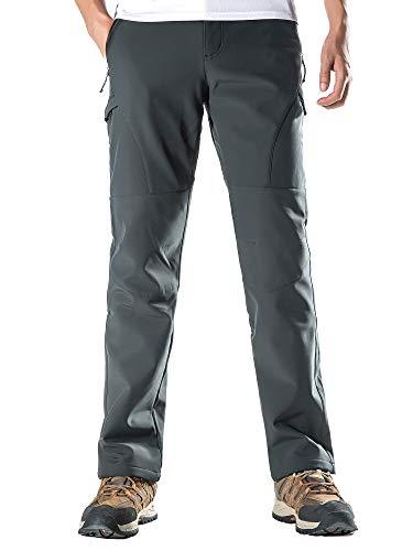 KORAMAN Mens Winter Snow Ski Pants Water-Repellent Windproof Softshell Fleece Outdoor Hiking Gray 2XL