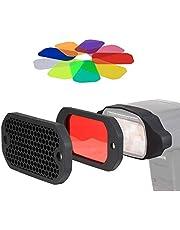 PHOLSY Universal Rejilla de Panal Flash Geles Filtro de Iluminación KIT con Corrección de Color para Canon Nikon Sony Godox Yongnuo Cámara Flash