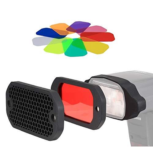 PHOLSY Wabenmuster Universal Blitz Filter Kamera Blitz Gels Beleuchtungsfilter Farbfolien Gitter und Farbiges Gel Filterset mit dem Magnetischen Stapelbaren System und Farbe Korrektur für Speedlite