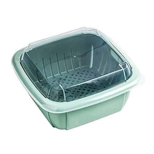 Multifunctionele koelkast dubbellaagse vershouddoos, plastic huishoudkeuken wassen groente vershoudbak met deksel…