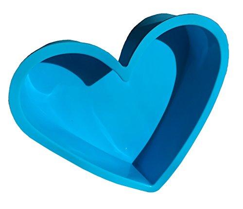 ROYAL HOUSEWARE Molde de silicona con forma de corazón grande para chocolate, cubitos de hielo, bombones, cupcakes, galletas, manualidades, hornear, decorar, forma redonda