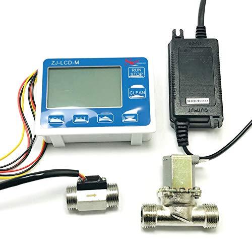 Fransande - Contador de cantidad ZJ-LCD-M + sensor de desbrozo de 1/2 pulgadas + válvula para medición de líquido de agua enchufe UE