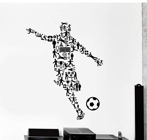 Joueur de foot Wall Art Decor Vinyle Stickers Garçons Chambre Amovible Sport Stickers Muraux Décor À La Maison Salon Salle De Football Murale 72x92 cm
