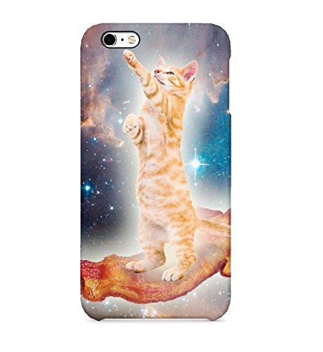 Cat riding Bacon en el espacio YOLO Swag teléfono móvil duro plástico 3d full-print protectora teléfono móvil para iphone Samsung Galaxy HUAWEI funda para teléfono móvil, iPhone 7 Plus