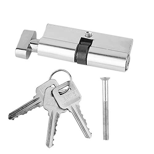 CYZJPC Bombin Cerradura 1 unids 70mm Aluminio Metal Metal Lock Cilindro Seguridad Inicio Anti-Taladro Anti-Taladro con 3 Teclas Silver Tone Set Tools Cerradura Puerta Exterior