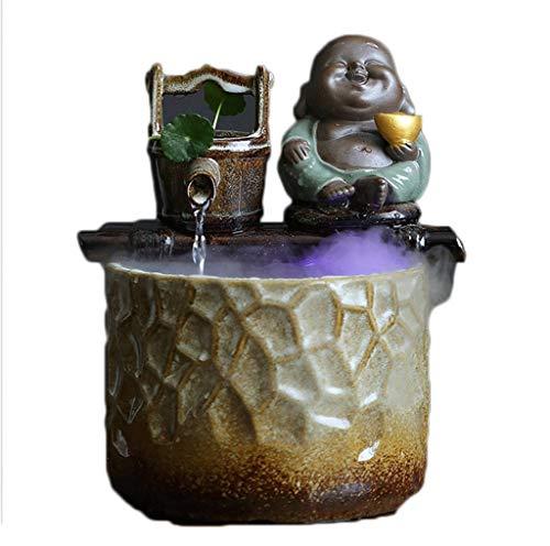 Decoración del hogar Fuente de Agua de la Mesa de la Mesa de cerámica de los Regalos de la Apertura - CARACTERÍSTICA DE Agua RELAZANTE DE Desktop DE Zen Fuentes de Interior (Color : A)