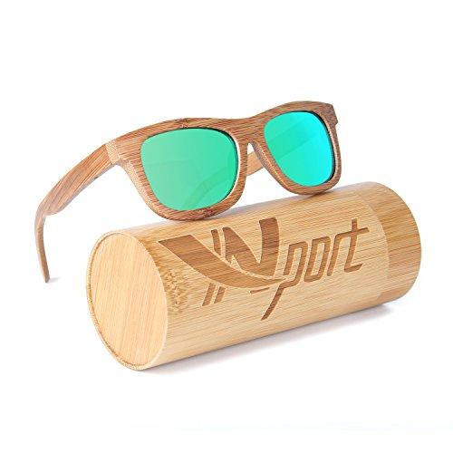 Ynport Crefreak Lunettes de Soleil Classique en Bambou carbonisé pour Homme/Femme Monture complète, Lunettes Vintage, flottantes, polarisées