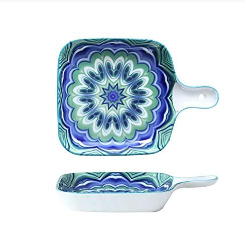 Vajilla Sartén para hornear Plato de comida occidental Plato de cerámica Sartén para hornear de cerámica para hornear Sartén para hornear de una sola manija de 9 pulgadas Flor verde azul
