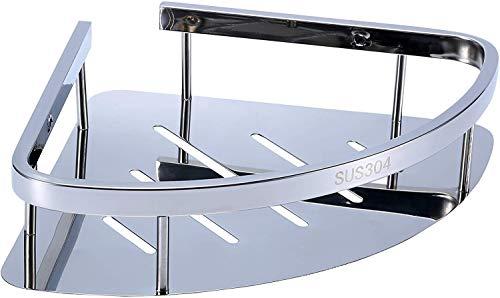 Raelf Multifunktionale Badezimmerregal Korb SUS 304 Edelstahl Dreieck Badewanne Wand montierten Regal Korb Top Bad Eckablage Duschbad Polierbehandlung 31 * 22 * 7cm