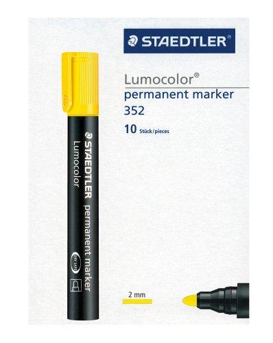 STAEDTLER Lumocolor permanent marker,  pennarello indelebile giallo con punta tonda, confezione da 10, 352-1