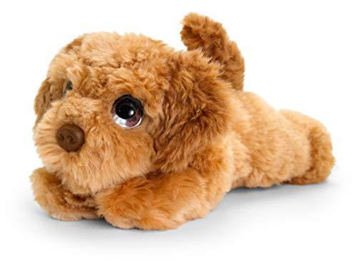 tachi Kuscheltier Cockapoo 25 cm, Brauner Plüschhund liegend, Stofftier Hündchen flauschig
