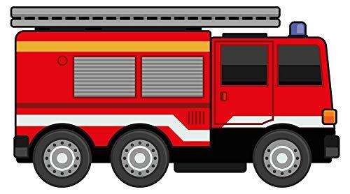 dekodino® Wandtattoo Feuerwehr Auto mit Blaulicht Wandsticker Kinderzimmer