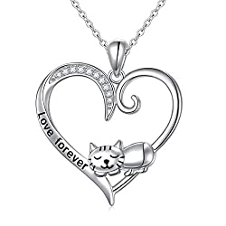 Sleeping Cat Heart Sterling Silver Pendant Necklace
